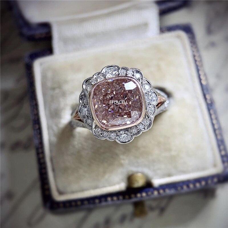 FFLACELL, nuevo anillo de circonita en polvo chapado en oro rosa de dos colores para fiesta femenina, regalo de joyería de compromiso para boda