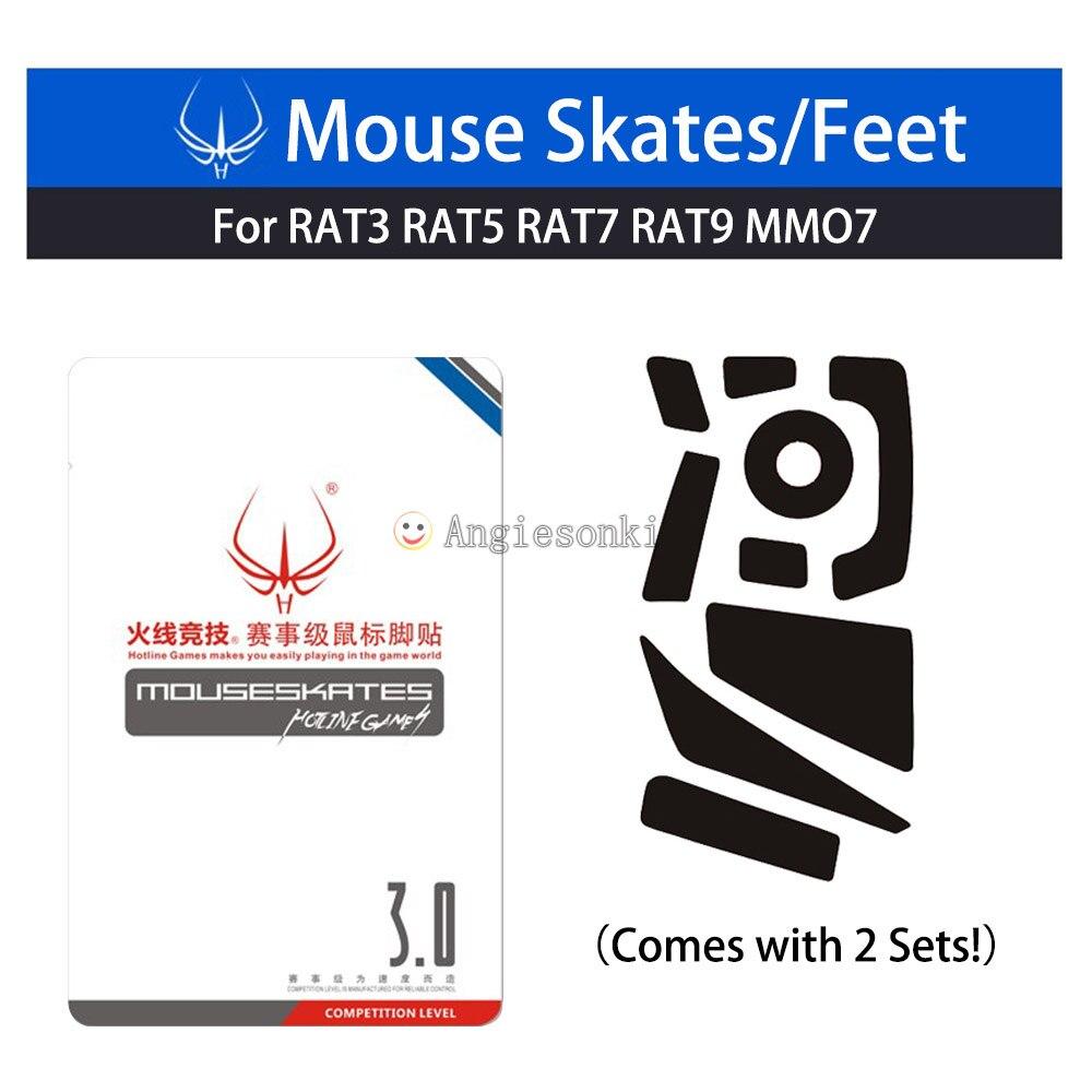 1 paquete de 2 juegos de Línea Directa pies/Patines Teflon 3M 0,6mm para Cyborg R.A.T. (Rata) ratones 3/5/7/9/MMO7