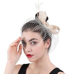 Ivory Sinamay Mariage Mesh Headwear Weddings Bridal Fascinators Hair Accessories For Womens Formal Headdress Handmade Hair Style