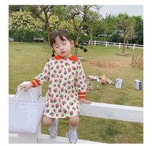 2020 Spring New Fashion Kids Girls Long Sleeve Dress Strawberry Print Lapel Dress