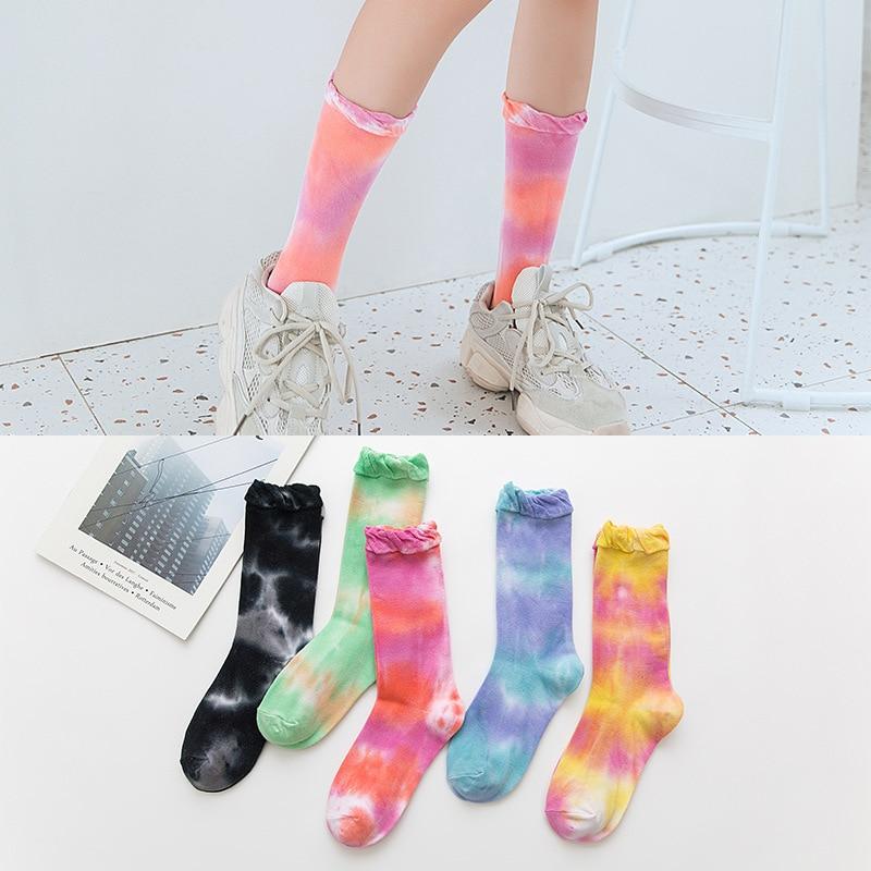 Harajuku style tie-dye middle tube trendy socks, loose mouth, personality piled socks, trendy couple socks cute socks