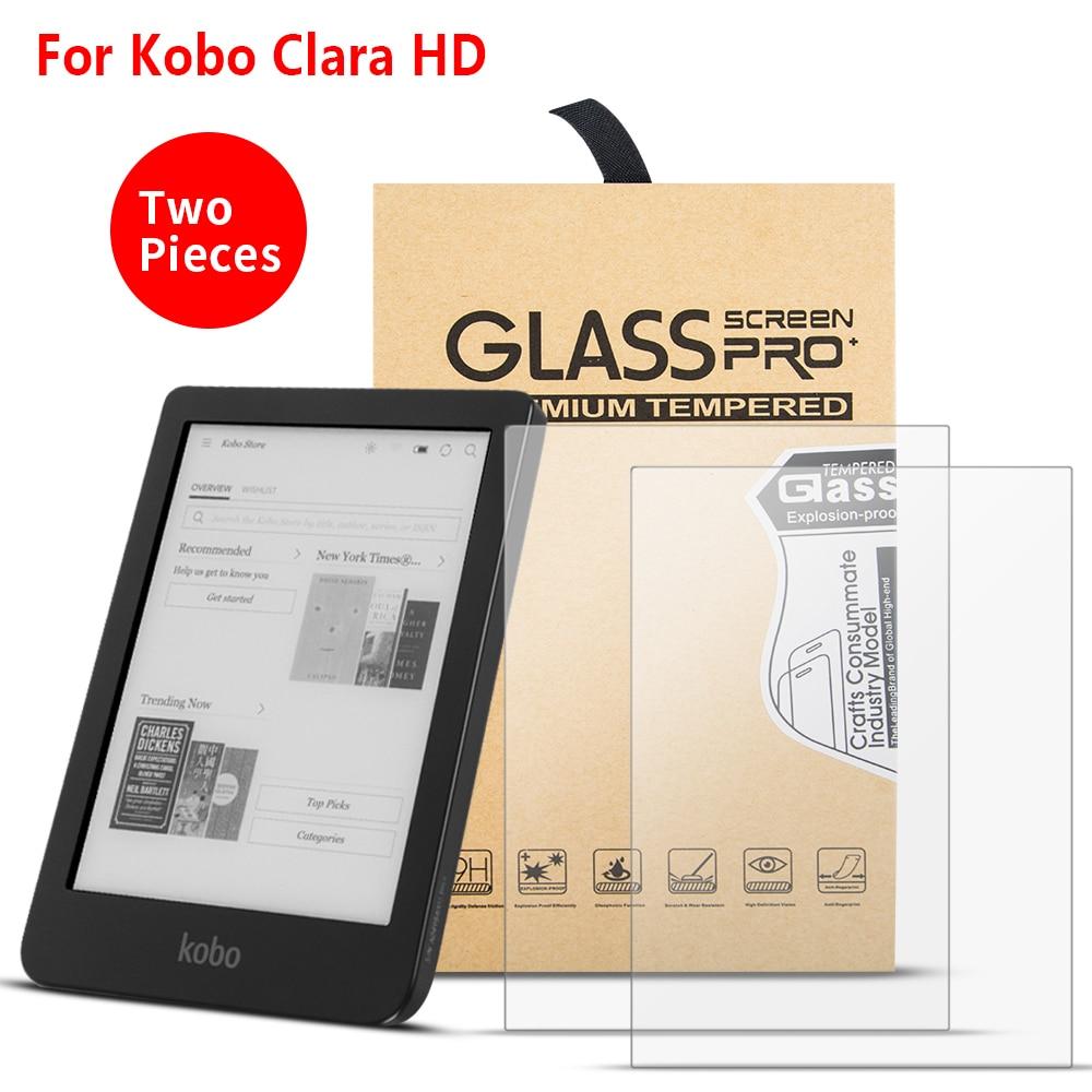 2 piunids/lote protectores de pantalla para Kobo Clara HD 6 pulgadas 2018 e-lector e-book Nano vidrio templado a prueba de explosiones película protectora