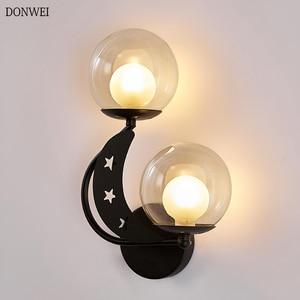 Современный Стеклянный светодиодный настенный светильник, комнатные настенные бра в скандинавском стиле для спальни, прикроватного столи...