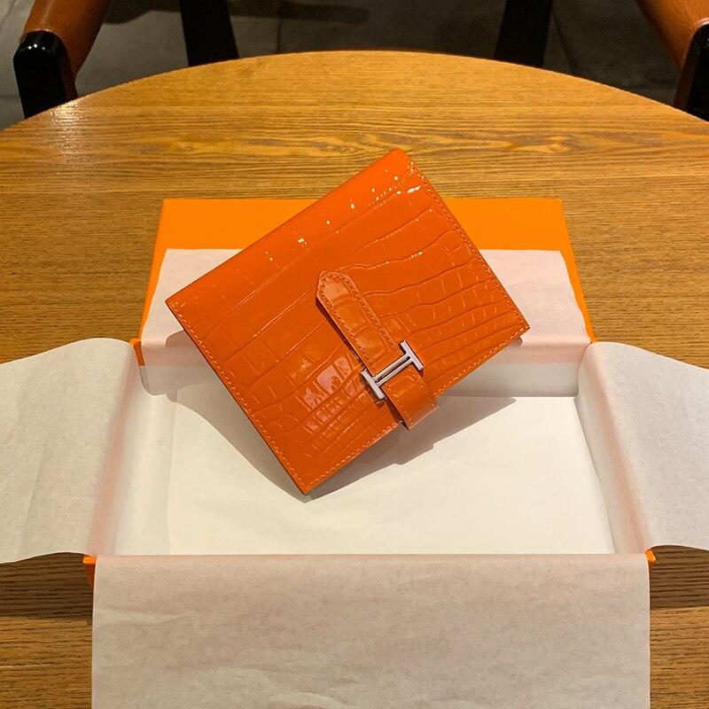 محفظة جلدية أصلية مع مزلاج للنساء ، محفظة صغيرة ونحيفة ، حامل بطاقات ، محافظ فاخرة
