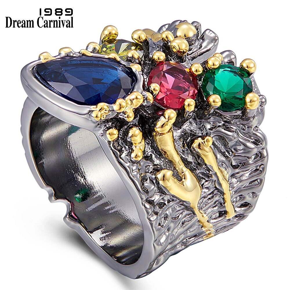 Anillo de circón colorido con personalidad exagerada DreamCarnival1989 para mujer, joyería de compromiso de boda, anillos de diseño grueso WA11757