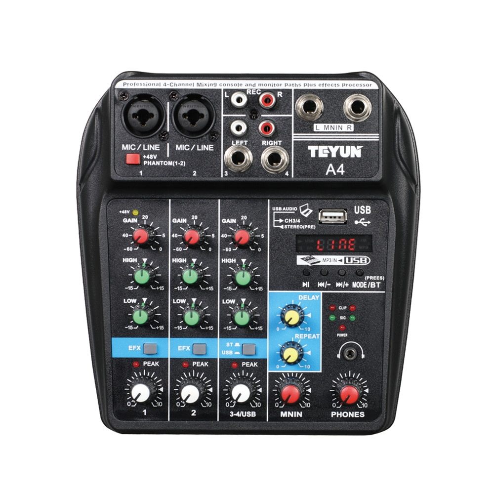 Wireless 4-channel Audio Mixer Portable Sound Mixing Console USB Interface MP3 Computer Input 48V Ph