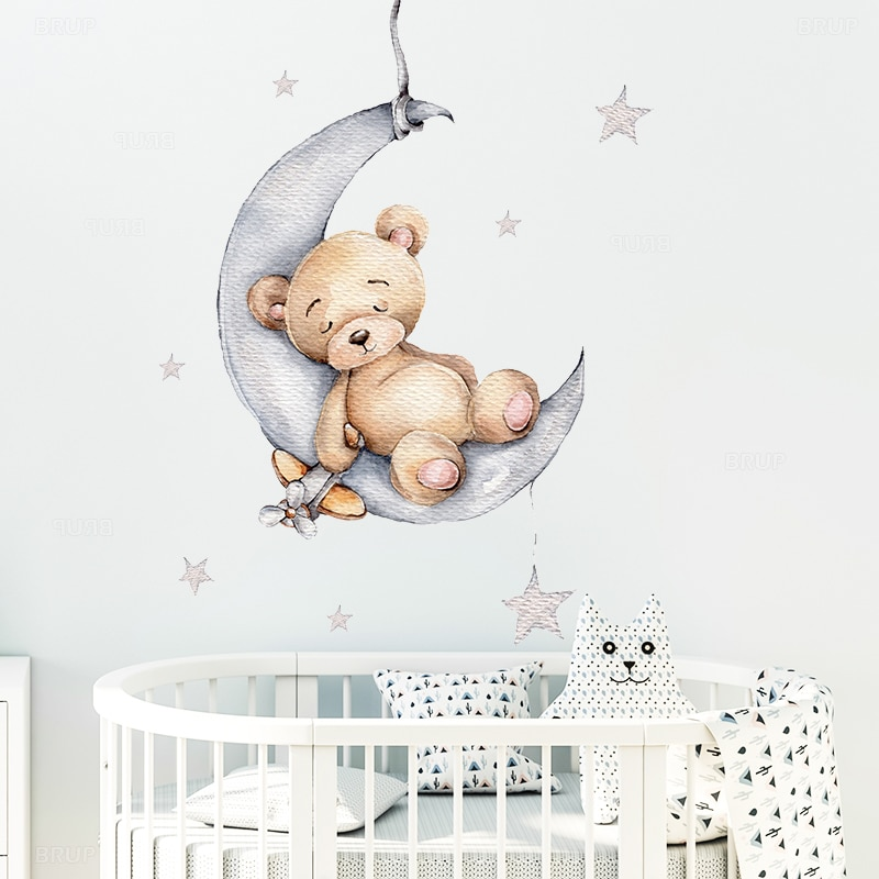 Cartoon Teddy Bear Sleeping on the Moon and Stars Wall Stickers for Kids Room Baby Room Decoration W