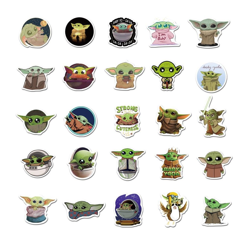 Купить с кэшбэком Baby Yoda Stickers Disney 50pcs Anime Star Wars Waterproof Skateboard Luggage Laptop Marvel Guitar Decals Kids Diy Sticker Toys
