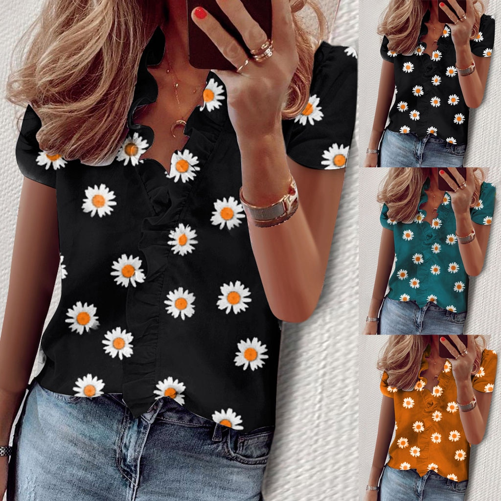 Plus size 2020 Women New summer Boho Print Flower Tops short Sleeve V-Neck T Shirt Female Casual black Tee Shirt#g2