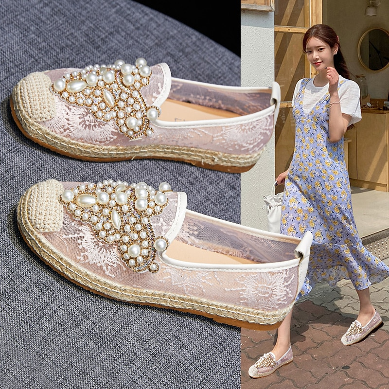 Pearl Decoration Women's Shoes Breathable Flock Loafers Shiny Rhinestone Espadrille Ladie's Driving Moccasin faux pearl espadrille flatform sliders