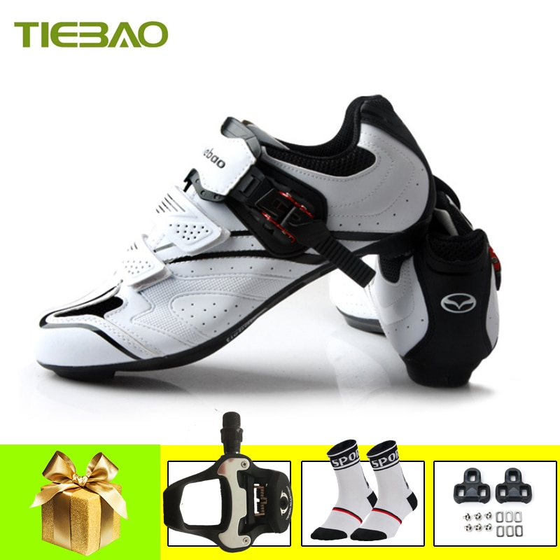 TIEBAO Cycling Shoes Road Sapatilha Ciclismo Men Women White Superstar Self-locking Breathable Sneaker Bicycle Riding Shoes