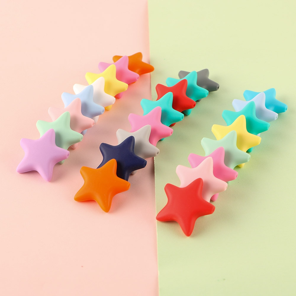 Sunrony 10 шт. звезды силиконовые бусины Детские Прорезыватели для зубов пищевого класса детские игрушки для прорезывания зубов цепочка для Сос...