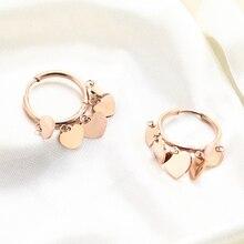 Fashion Heart Hoop Earrings for Women Rose Gold Color Cute Small Tassel Korean Earring Stainless Steel Ear Jewelry 2020 New Gift