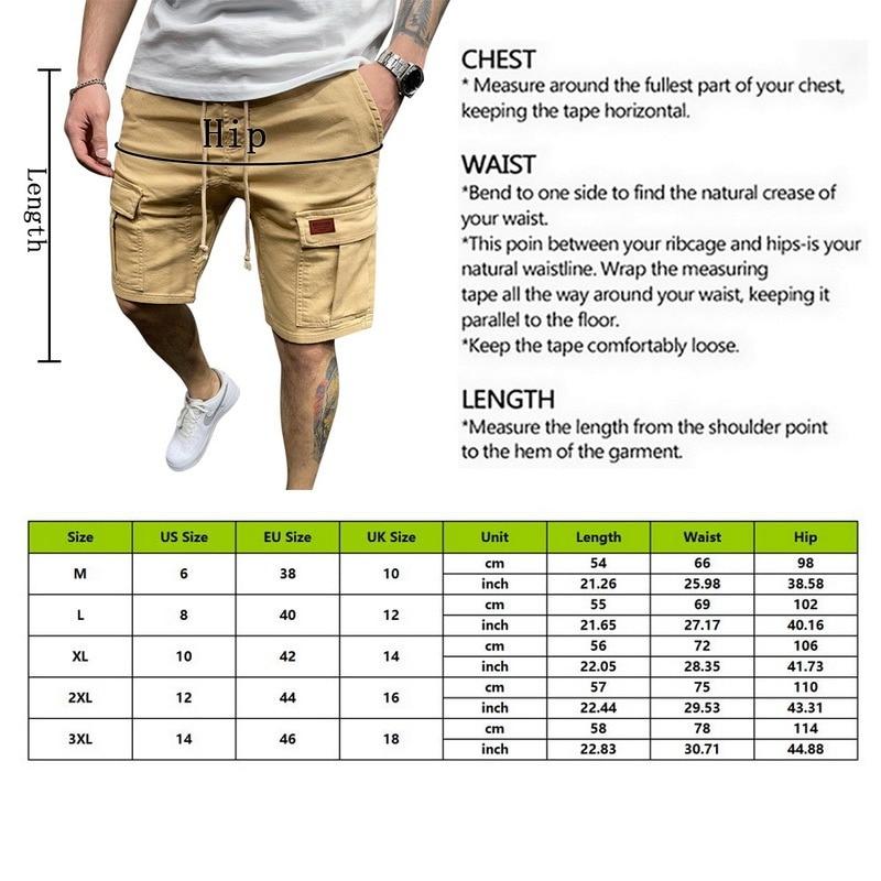 Men Elastic Drawstring Trunk Summer Shorts Casual Breathable Gym Shorts Fitness Streetwear Loose Hip Cargo Shorts Men Clothing