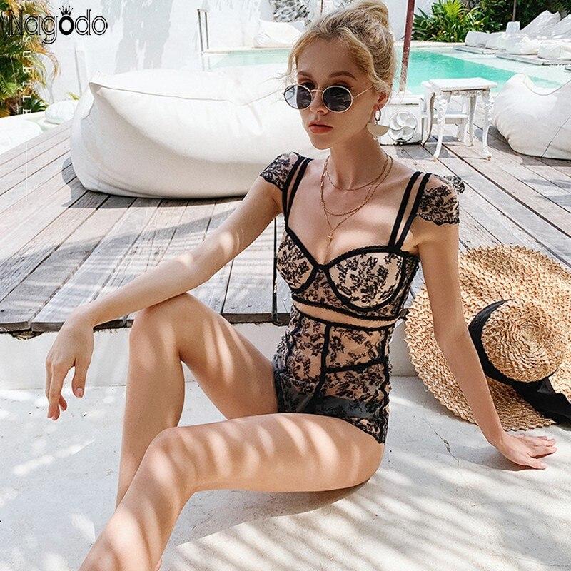 Nagodo Sexy Lace Push Up Bikini 2020 Thailand Vacation Swimwear Women Backless Bra One Piece Swimsuit Black Mesh Bikini Mikro