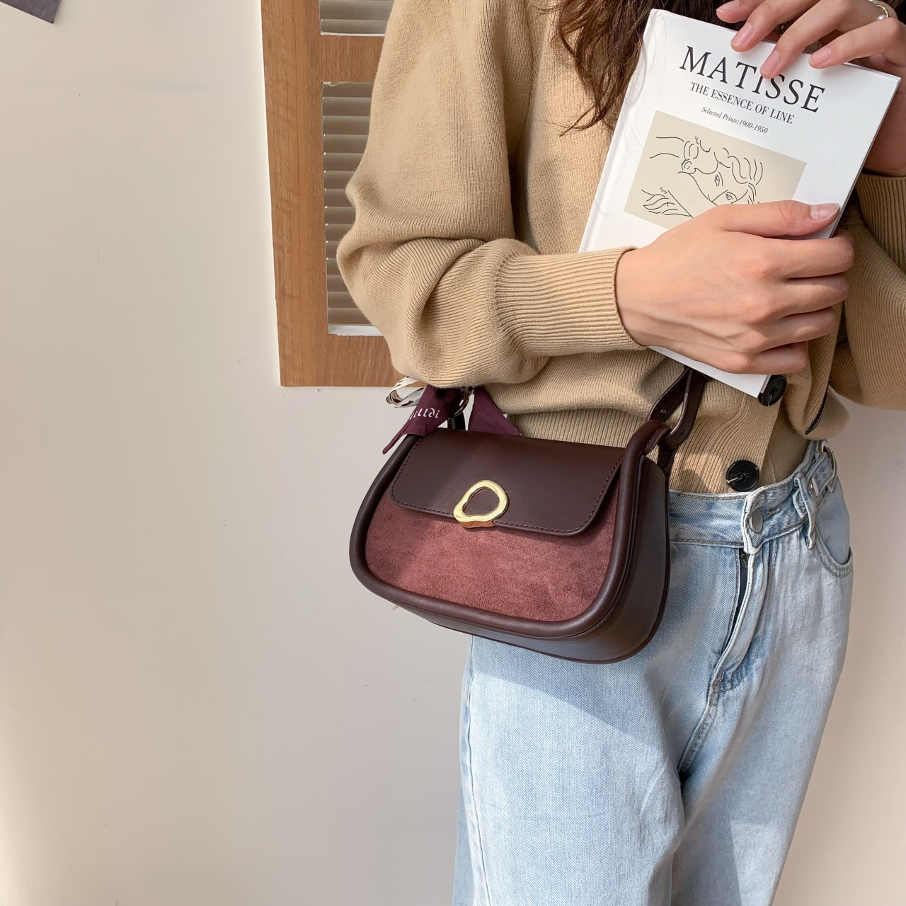 Small PU Leather Underarm Crossbody Shoulder Bags with Ribbon for Women 2021 Winter Chic Handbags