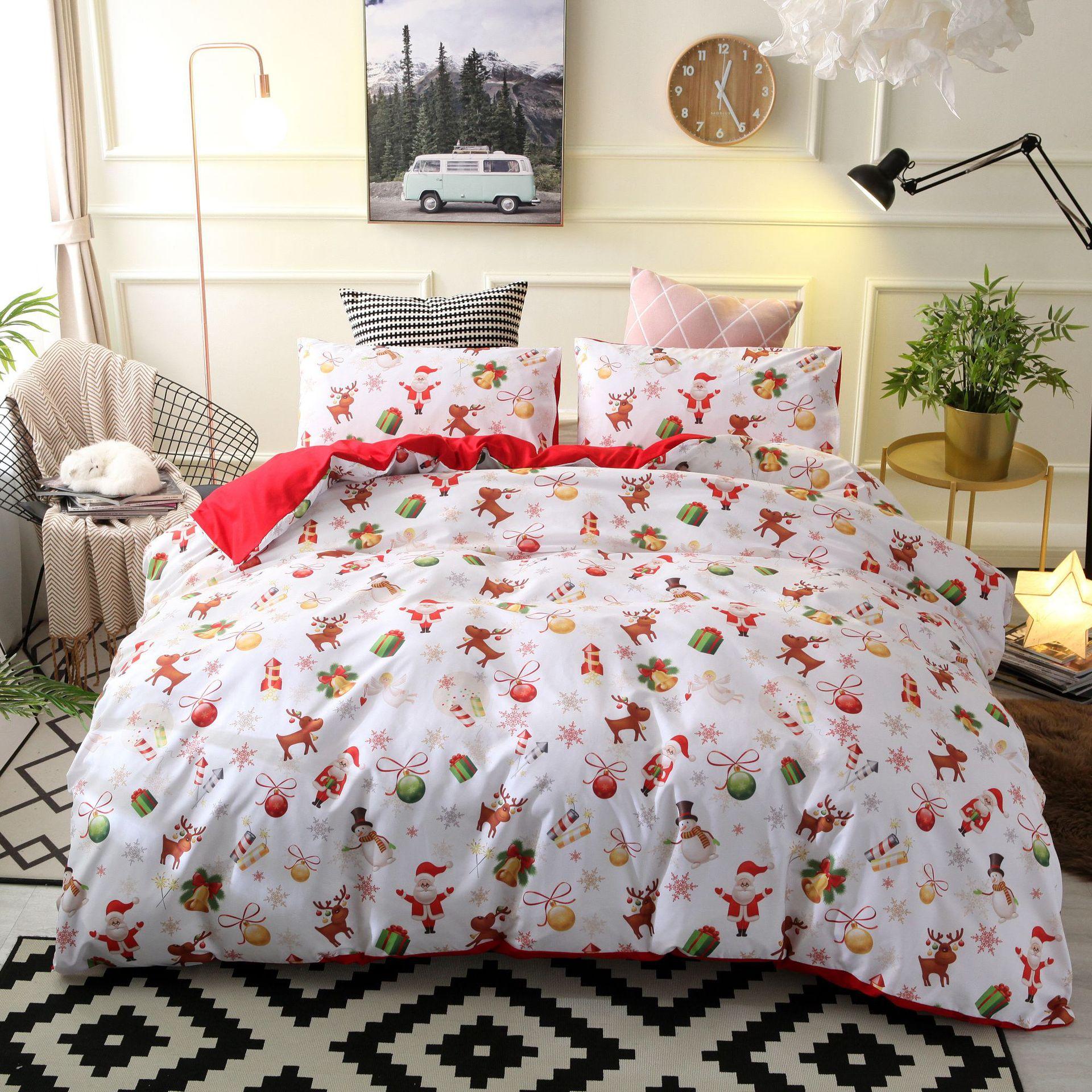 Colcha de patrón de regalo navideño de Papá Noel, funda de cama con estampado 3d, conjunto de ropa de cama textil para el hogar, funda de almohada be54