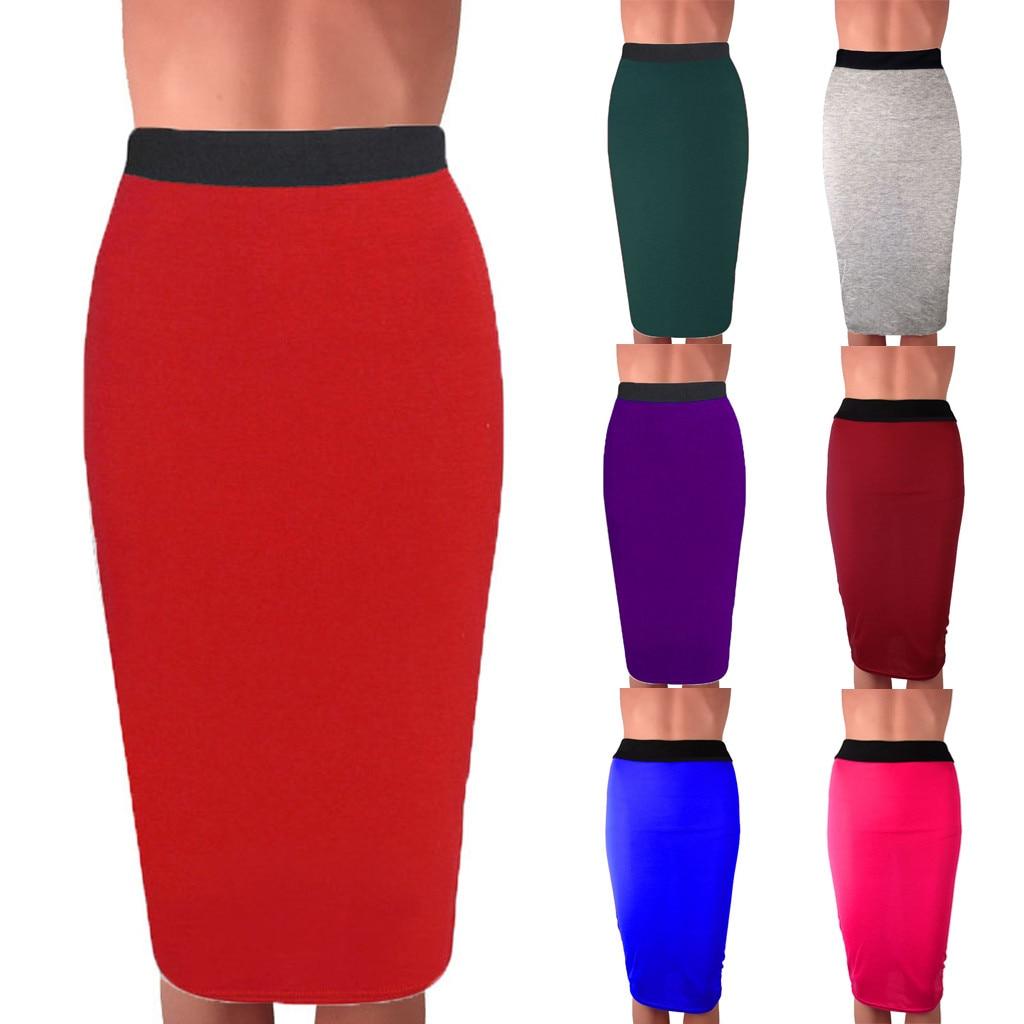 Ladys cuerpo-con falda Mediados de cintura Oficina Slim Patchwork falda de la longitud de la rodilla faldas mujer moda юбки женские кожаная юбка кожаная