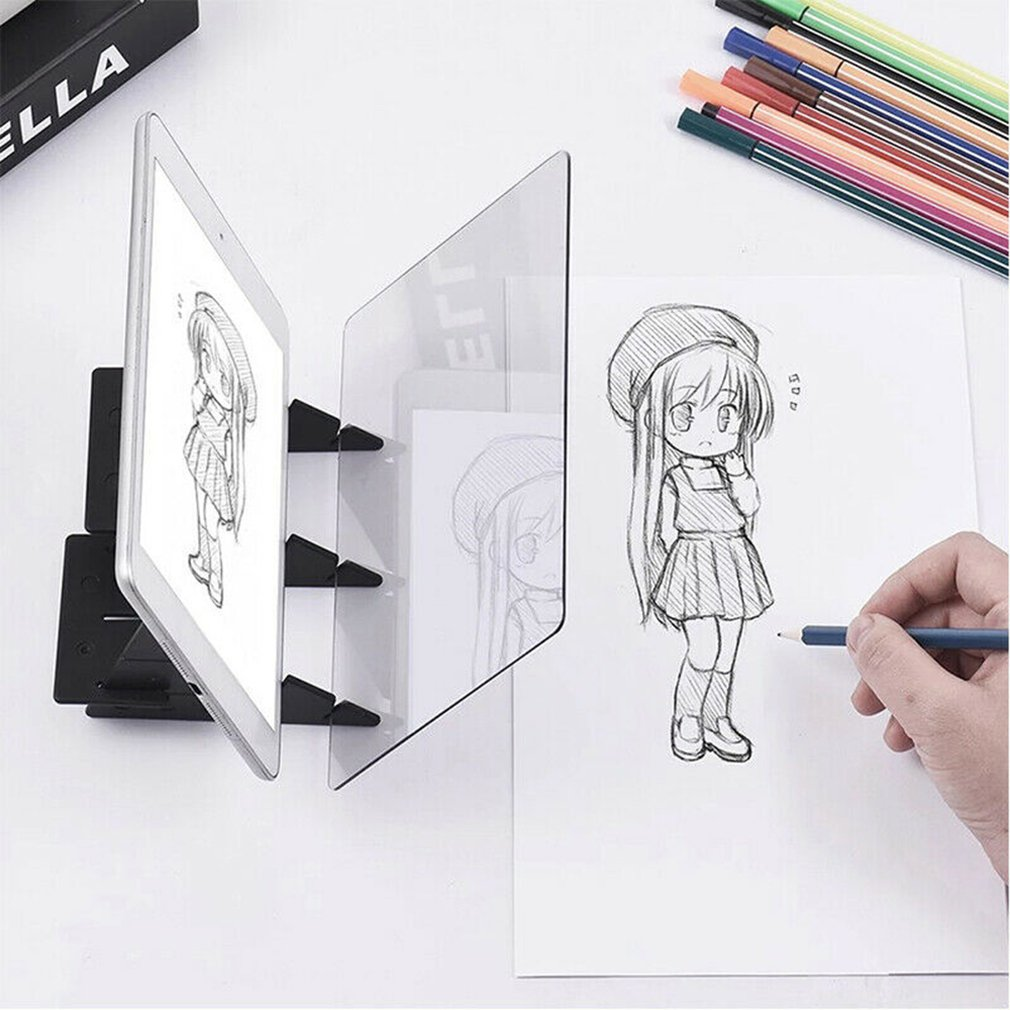 Optical Imaging Drawing Board Lens Sketch Mirror Reflection Dimming Bracket Holder Painting Mirror Plate Tracing Table Plotter enlarge