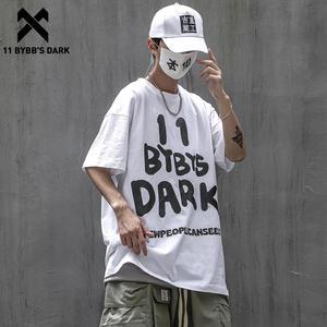 11 BYBB'S DARK Hand Painted Graffiti Letter Harajuku Tshirts Summer Cotton Loose Short Sleeve Streetwear Hip Hop T-Shirt Men