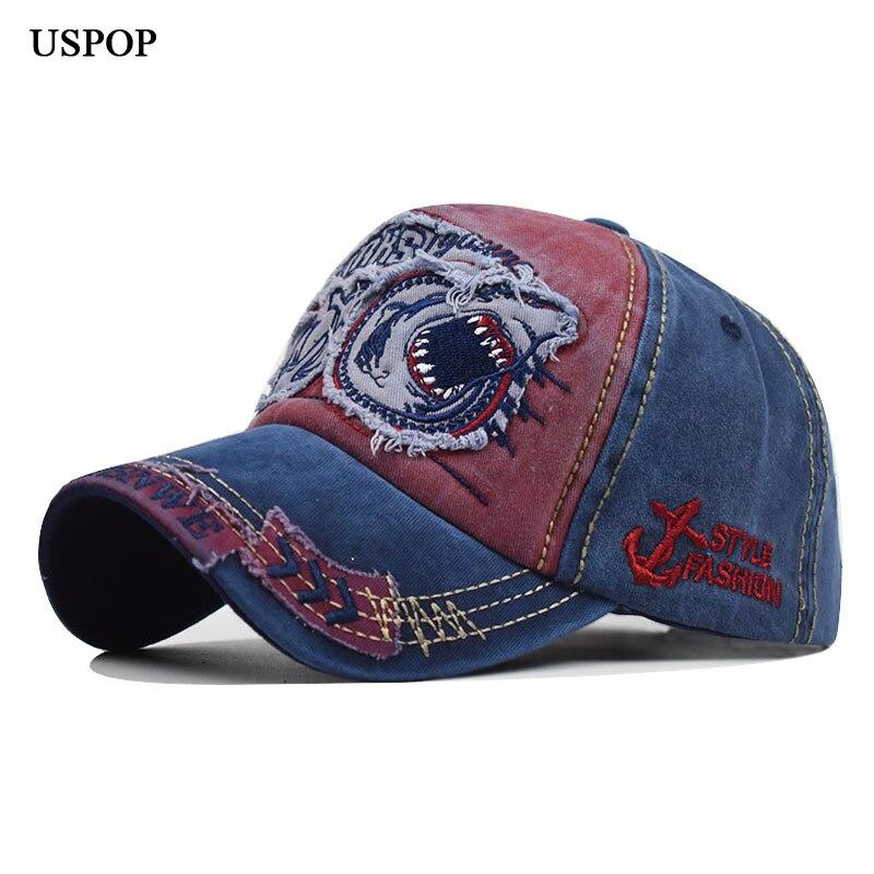 USPOP 2019 mujeres hombres gorras de béisbol tiburón bordado gorra de béisbol puro algodón 3D letra estéreo bordado gorra visera