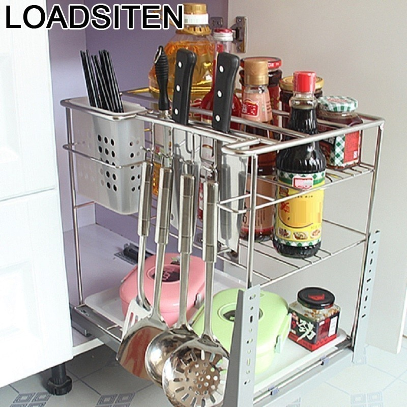 Organizador De cosméticos Armario Cocina accesorios Organizador Cucina Acero inoxidable Cocina estante Cocina cesta para Armario De Cocina