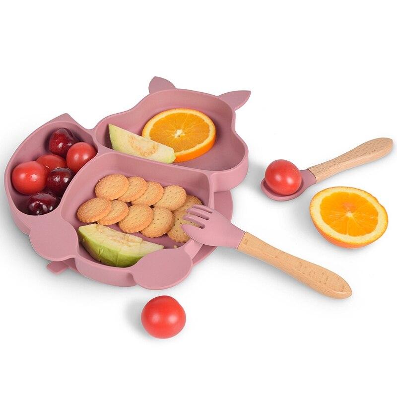 Силиконовый чехол с изображением белки Форма присоски, учебные тарелки безопасная миска, столовая ложка, вилка, набор для кормления