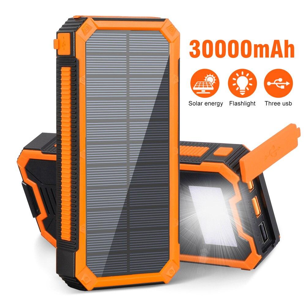 اتجاهين PD تهمة سريعة فائقة سعة خزان الطاقة الكبيرة 30000 MAh في الهواء الطلق ثلاثة دليل على الطوارئ الشمسية إمدادات الطاقة المتنقلة