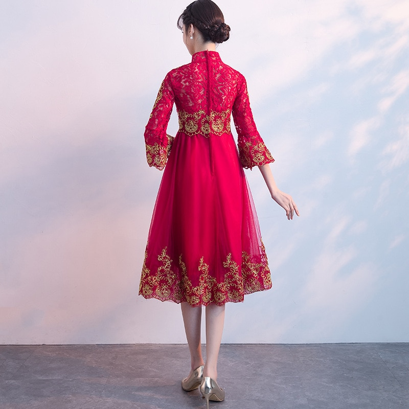 long Style Lace Style Chinese Formal Dress For Pregnant Women Three Quarter Sleeve Polyester Bridal Gown For Wedding Party ZL632 enlarge
