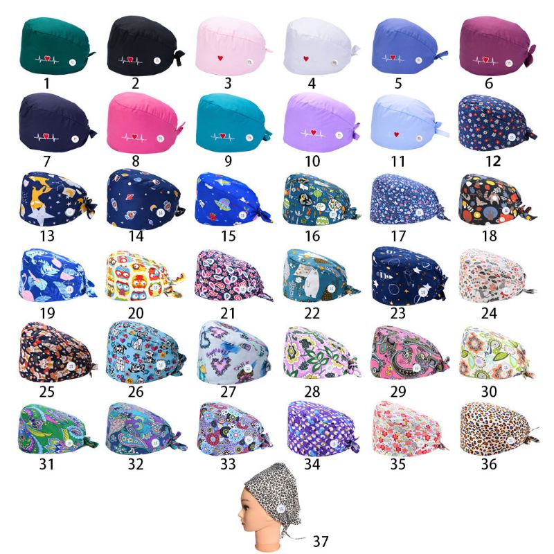 37 Colors Unisex Adjustable Working Scrub Cap with Protect Ears Button Electrocardiogram Embroidery