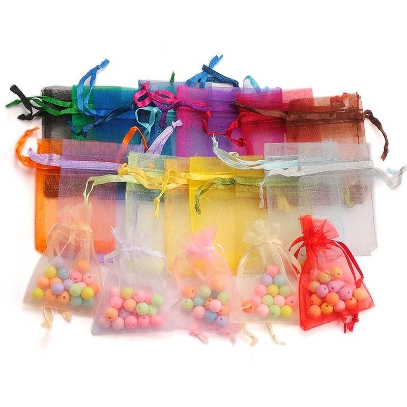 100 teile/los Organza Beutel 5*7cm,7*9cm,9x12cm Weihnachten Hochzeit Tasche Candy Taschen Geschenk Beutel Schmuck Verpackung Display 23 Farben