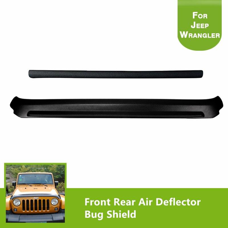 Parte dianteira e traseira pedra & bug defletor capa escudo preto bug escudo defletor de ar para 2007-2017 jeep wrangler