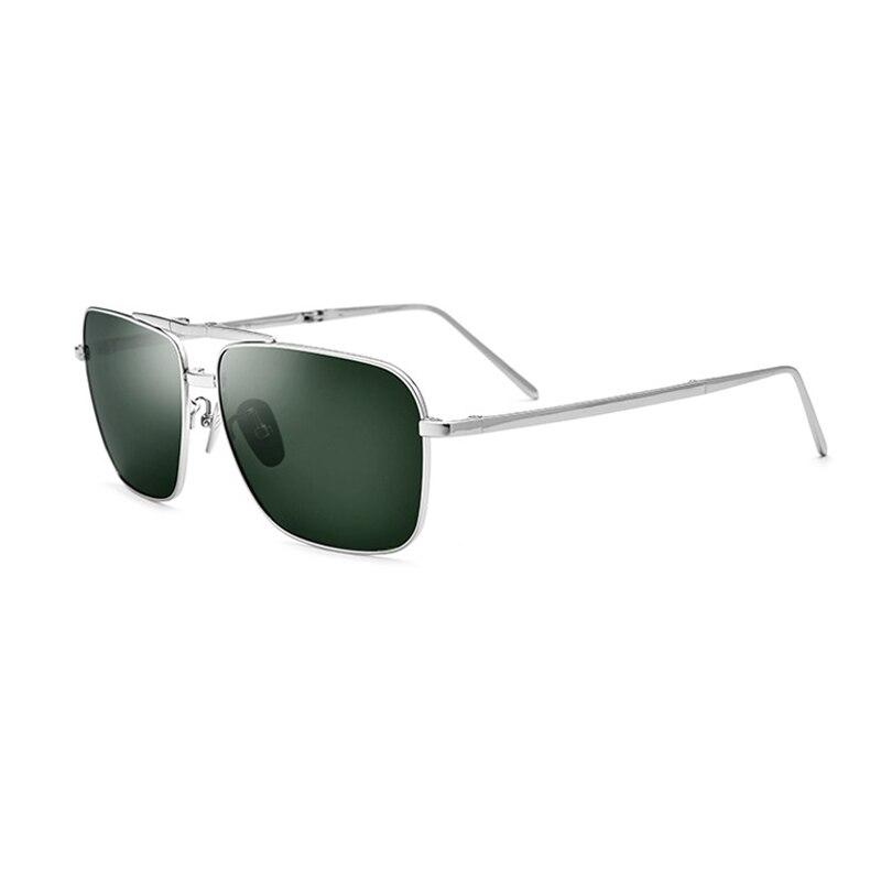Titanium Men Polarized Sunglasses UV400 Silver/Black/Gold Square Glasses For Men Vintage Folding Glasses