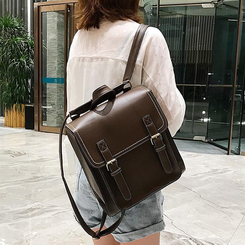 حقيبة للظهر فينتاج الإناث بولي Leather حقيبة جلدية المرأة على ظهره حقيبة مدرسية الموضة للفتيات عالية الجودة الترفيه حقيبة كتف كيس دوس