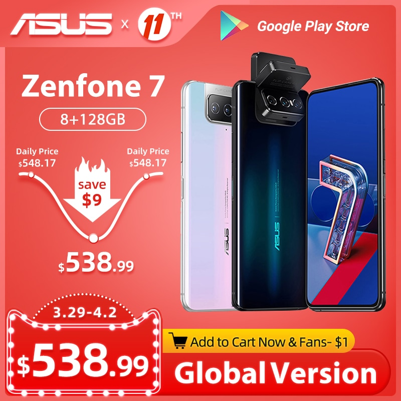 Global Version ASUS Zenfone 7/7 Pro 5G Smartphone Snapdragon 865/865Plus 8GB RAM 128/256 ROM 5000mAh Battery Android Q 90Hz NFC