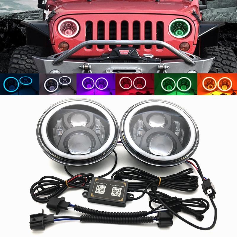7'' DRL Headlamp Flashing RGB Angel eyes Bluetooth Controlled for Jeep Wrangler JK  7inch 60w Round headlight with RGB Halo Ring