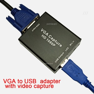 VGA-to-USB adapter converter, Support  audio and video capture card 1080p with VGA cable , VGA signal input USB2.0 Output
