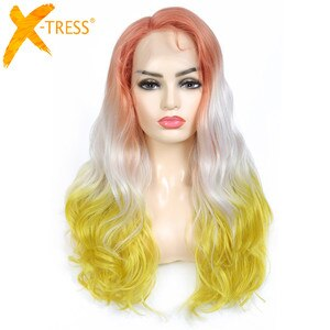 X-TRESS Synthetic Lace Front Wigs Cosplay Wig Orange White Yellow Mixed Colored Natural Wave Wig For Women Heat Resistant Hair