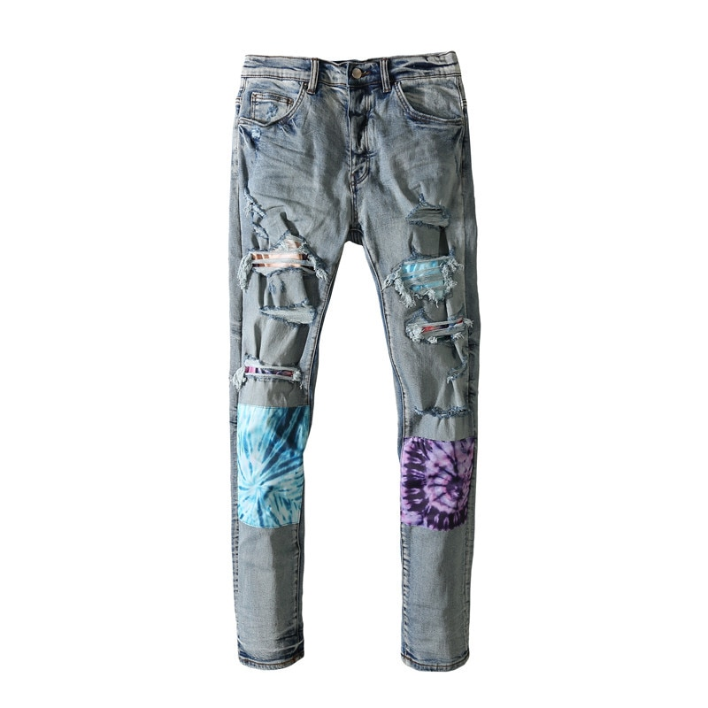 American Famous Brand AMR Washed Vintage Patch Ripped Jeans Men's Pants Streetwear Men Trousers Men's Clothing Traf Techwear