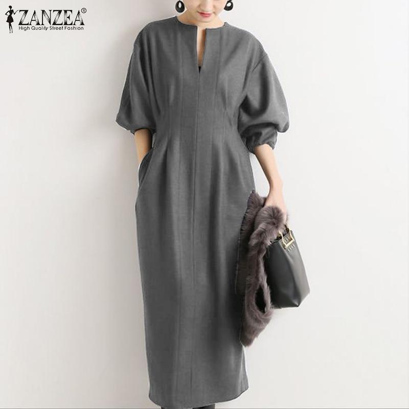 Платье ZANZEA женское с пышными рукавами, Элегантная Модная Однотонная рубашка до середины икры с разрезом, офисный сарафан для работы, весна 2021