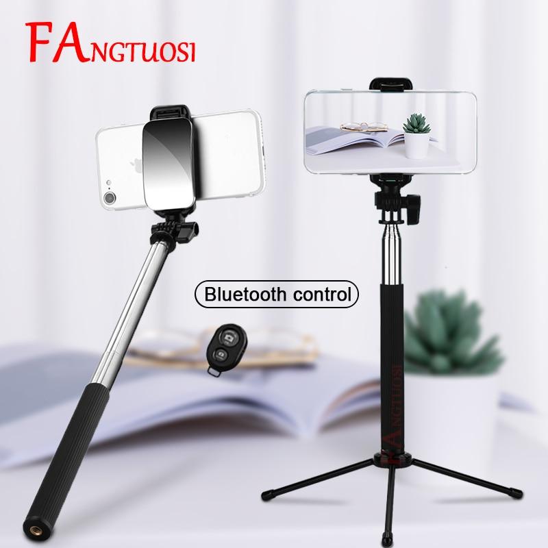 FANGTUOSI Lengthened version Wireless Bluetooth Selfie Stick Handheld Monopod with mirror +  remote control + Tripod