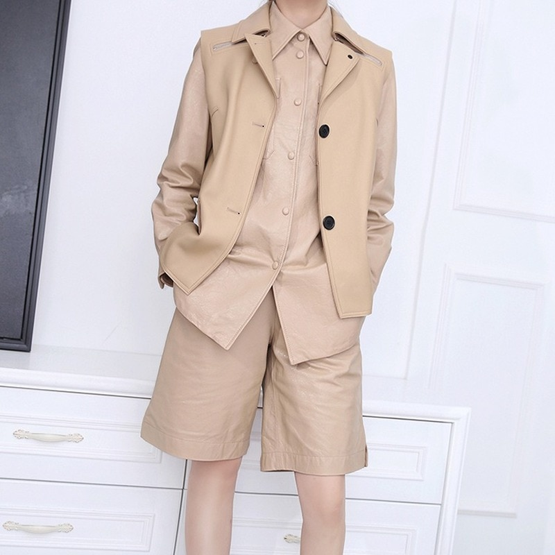 Autumn Spring Suits Vest Sheepskin Genuine Leather Suit Jackets Women Coat Loose Fashion Overcoat Jacket Coats Office Outerwear