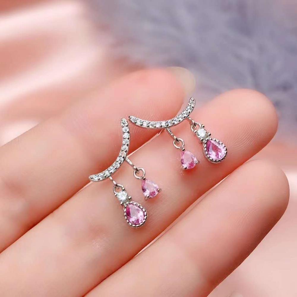 Natural Pink Sapphire Earrings 925 Sterling Silver Gemstone Stud Earrings for Women Fine Jewelry New