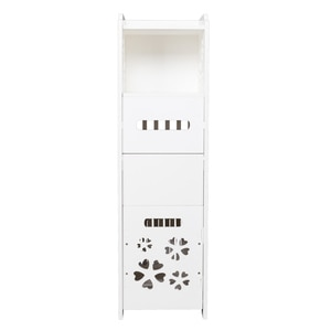 【US Warehouse】3-tier Bathroom Storage Cabinet with Garbage Can 25*25*80CM White