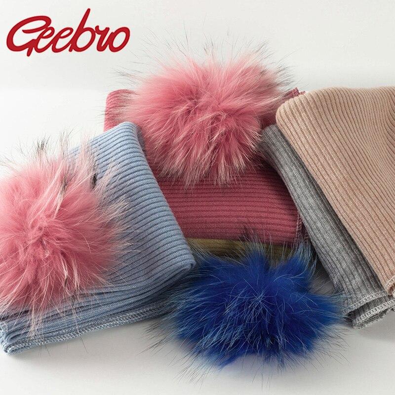 Geebro Newborn Warm Ribbing Swaddling Blanket with 8 Real Raccoon Fur Pompom Travel Sleeping Blanket Kids Baby Bedding Swaddles
