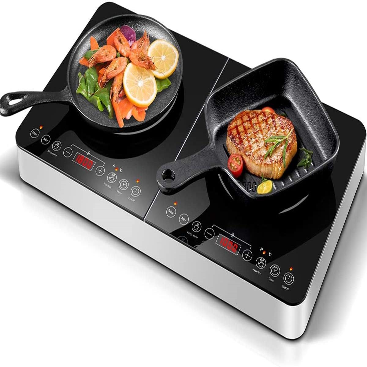 Aobosi موقد الإحماء مزدوج التعريفي طباخ لوحات التعريفي الكهربائية 3500 واط 4 ساعة وظيفة الموقت