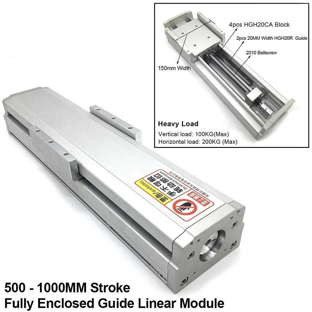 500-1000 مللي متر السكتة الدماغية مغلق بالكامل دليل خطي وحدة 200 كجم حمولة ثقيلة 150 مللي متر عرض 2010 بكرة انزلاق الجدول غطاء مقاوم للأتربة