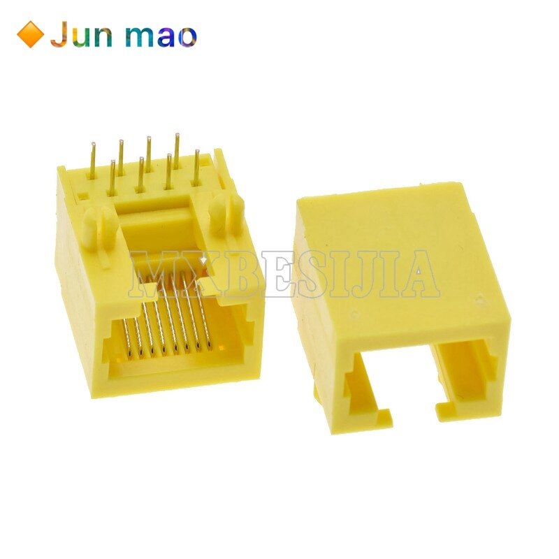 10 Uds RJ45 8P8C enchufe de puerto de red 8P8C hembra PCB montaje Modular amarillo RJ45 interfaz