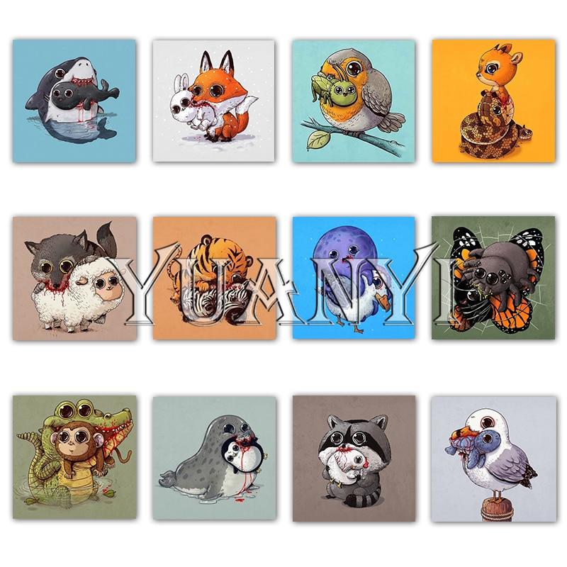 """5D DIY pintura de diamantes de dibujos animados punto de cruz cuadrado completo """"Tigre Animal, mariposa, pájaro"""" mosaico de diamantes de zorro bordado"""