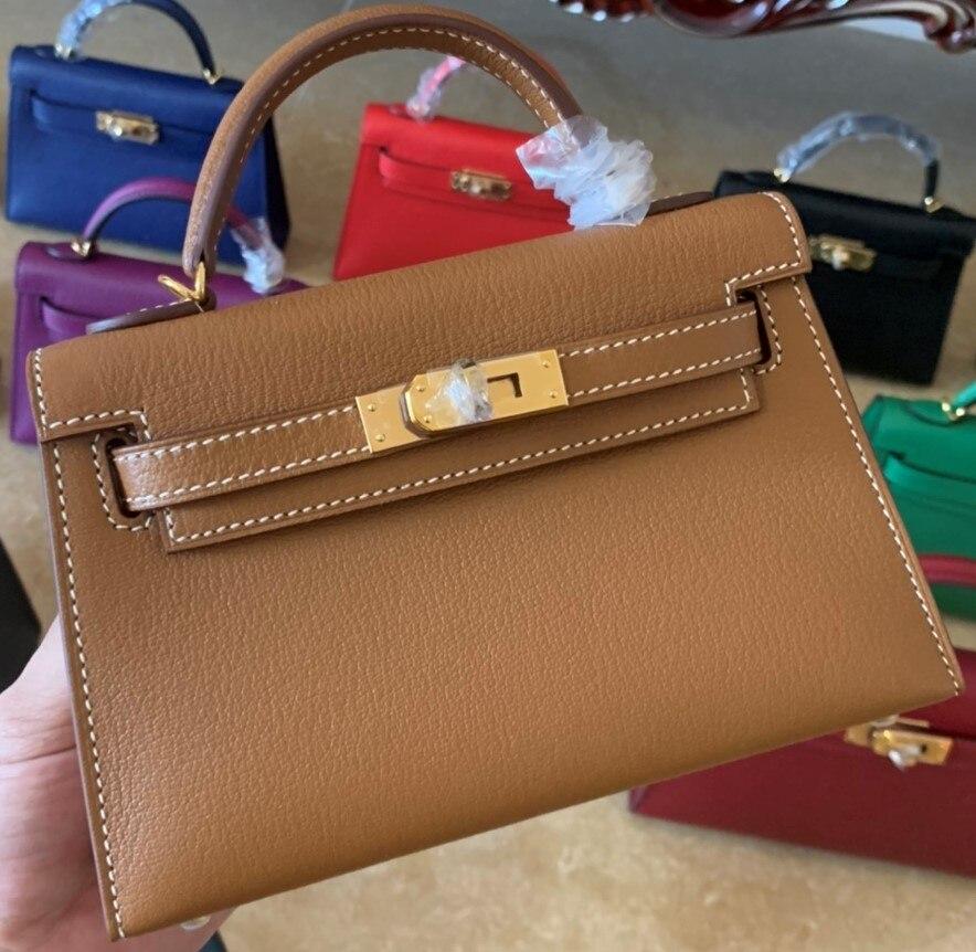تماما اليدوية العلامة التجارية محفظة صغيرة ، 19.5 سنتيمتر حقيبة تصميم البني ، حقيبة يد فاخرة ، جلد الكرز ، وسرعة التسليم